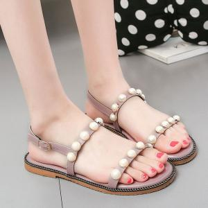 Belt Buckle Faux Pearls Sandals - Pink - 38