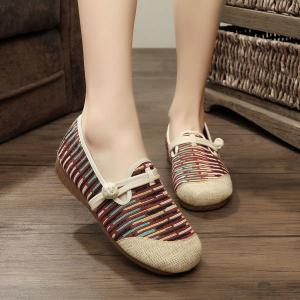 Striped Knot Button Flat Shoes - Brown - 39