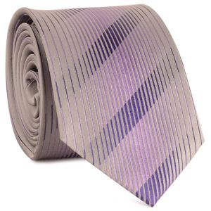 Diagonal Straight Stripe Mulberry Silk Tie - Pinkish Purple