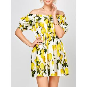 Off The Shoulder Lemon Print Robe d'été