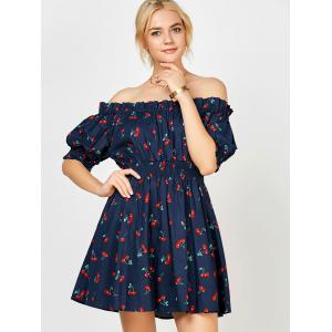 Cherry Print Ruffle Off The Shoulder Dress - PURPLISH BLUE M