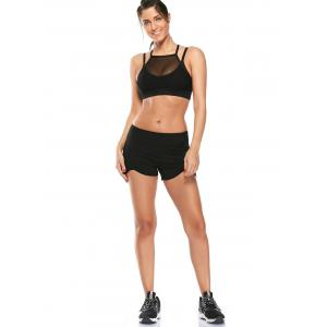 Elastic Waist Asymmetric Mini Athletic Running Shorts - BLACK M