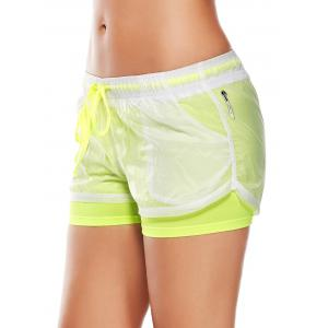 Layer Sports Drawstring Running Shorts - FLUORESCENT YELLOW M