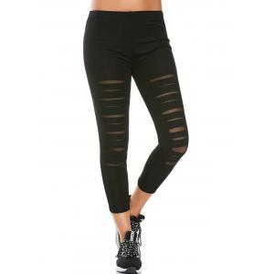 Sports Distressed Leggings With Mesh Insert