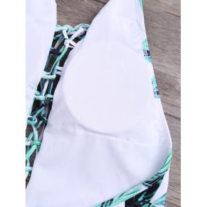 Palm Leaves Criss Cross Halter Bathing Suits - GREEN XL