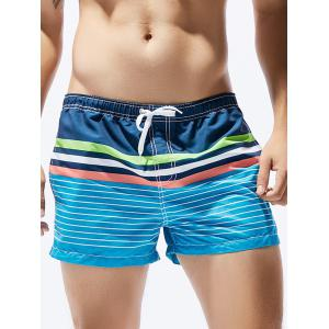 Ombre Stripe Print Straight Leg Drawstring Board Shorts