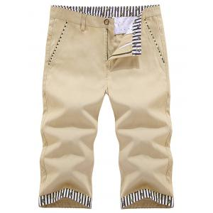 Zip Fly Striped Trim Bermuda Shorts - Khaki - 38