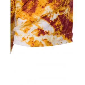 Cotton Linen Chinese Style Short Sleeve Tie Dye T-Shirt -