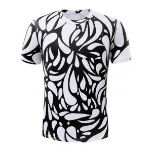 Short Sleeve Cotton Blends 3D Water Drop Print T-Shirt