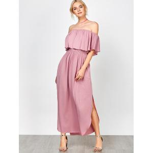 Off Shoulder Long Flounce Slit Formal Dress - PINK XL