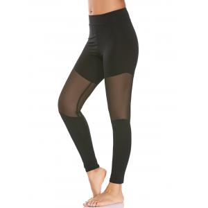 Semi Sheer High Waisted Mesh Workout Leggings - Black - L