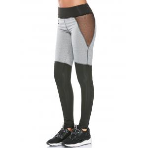 Color Block Mesh Panel Workout Leggings - Gray - L