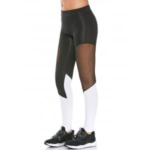 Colorblock Semi Sheer Mesh Panel Workout Leggings - Black - Xl