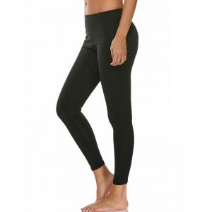 High Waist Ankle Length Compression Leggings - Black - S