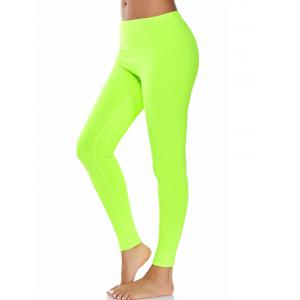 High Waist Ankle Length Compression Leggings - Neon Green - S