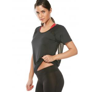 Quick Dry Back Surplice Mesh Insert T-Shirt - BLACK M