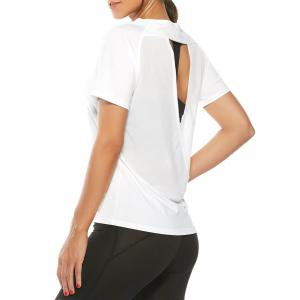 Quick Dry Back Surplice Mesh Insert T-Shirt - White - S