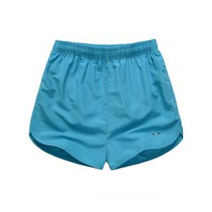 Embroidered Mesh Lining Drawstring Board Shorts - Lake Blue - L