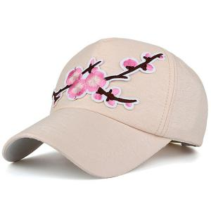 Flowering Branch Embroidered Baseball Cap - Candy Beige - One Size