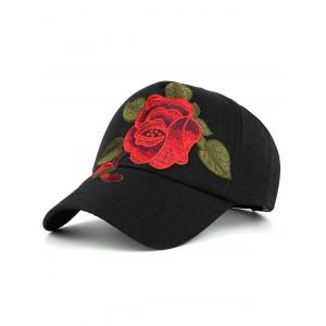 Showy Flower Embroidered Baseball Hat - Black