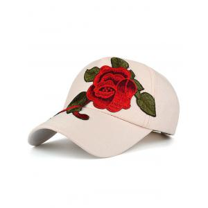Showy Flower Embroidered Baseball Hat - Off-white