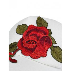 Showy Flower Embroidered Baseball Hat - WHITE