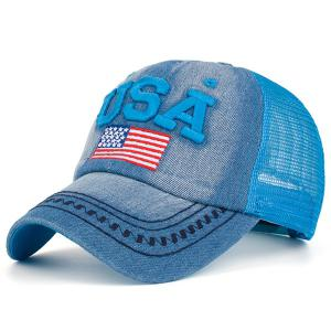 Mesh Spliced USA Flag Embroidery Baseball Cap