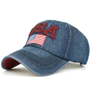 USA Flag Embroidered Baseball Cap - Red - 42