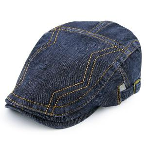 Denim Adjustable Line Embroidered Newsboy Hat - Full Black