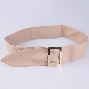 Metal Rectangle Buckle Wide Faux Leather Belt