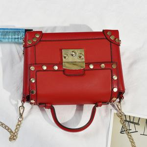 Top Handle Stud Chain Handbag - Rouge