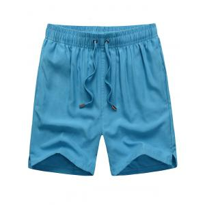 Mesh Lining Drawstring Hidden Pocket Board Shorts - Lake Blue - Xl