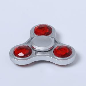 Fidget Toy Zinc Alloy Finger Spinner with Faux Crystal - RED 6*6*1.5CM