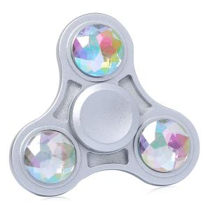 Fidget Toy Zinc Alloy Finger Spinner with Faux Crystal - White - 6*6*1.5cm
