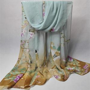 Chinoiserie Flowering Branch Bird Printing Shawl Scarf - Blue Gray - 6xl