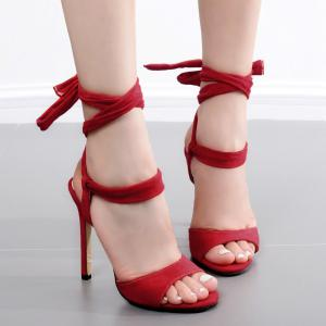 Stiletto Heel Lace Up Sandals - Red - 40