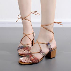 Tie Up Floral Printed Sandals -