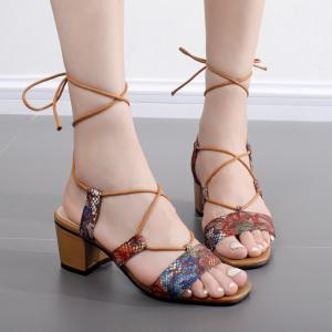 Tie Up Floral Printed Sandals - Brown - 40
