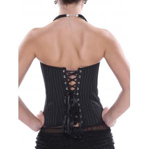 Striped Lace-Up Strapless Corset Top - BLACK M