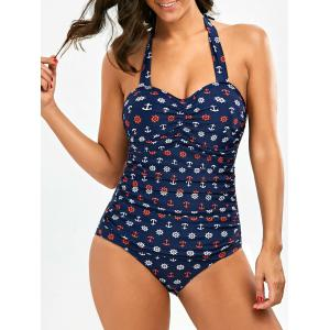 Ruched Front Halter Anchor Print Swimsuit