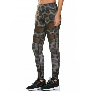 Snake Printed Work Out Leggings with Mesh - Multi - Xl