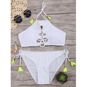 Lace Up Halter Bikini with Padded Cups - White - L