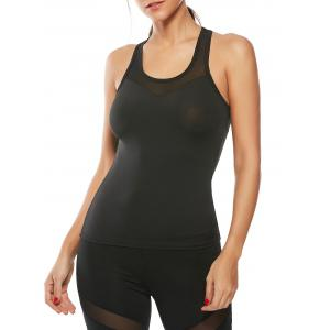 Mesh Insert Workout Running Tank Top - Black - L