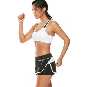 Strappy Sports Padded Bra et Layer Running Shorts - Blanc S