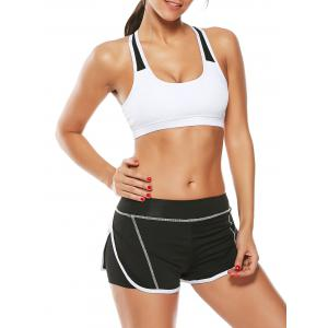 Strappy Sports Padded Bra and Layer Running Shorts - White - S