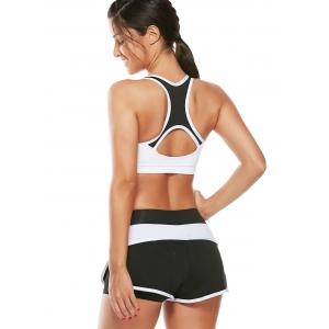 Strappy Sports Padded Bra et Layer Running Shorts - Blanc L