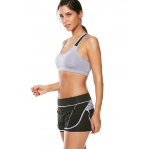 Strappy Sports Padded Bra and Layer Running Shorts - GRAY L