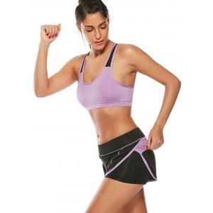 Strappy Sports Padded Bra et Layer Running Shorts - Pourpre M