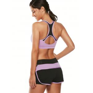 Strappy Sports Padded Bra and Layer Running Shorts - PURPLE S