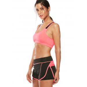 Strappy Sports Padded Bra and Layer Running Shorts - WATERMELON RED L